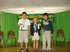 Dodson 3rd and 4th Grade Winners (Left to Right):  Devin Landry (3rd Place), Cassidy Boudreaux(1st Place), and Jacky Ho (2nd Place).