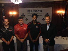 Pictured (l-r) are Gus Hauser, Asst Coach; Mike Murphy, Head of Basketball Operations; Elfrid Payton, starting point guard;Bob Marlin, Head Coach